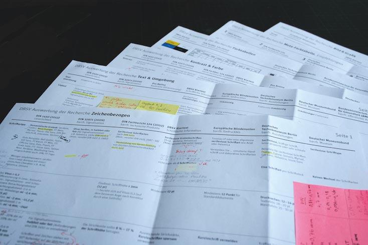 Große Papierbögen liegen aufgefächert übereinander und zeigen Tabellen mit Textblöcken und handschriftlichen Notizen.